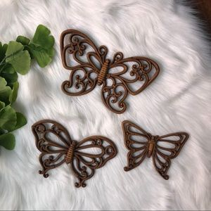 Other - Vintage Butterfly Plastic Set - 3 Home Decor Brown